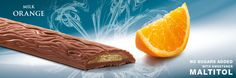 Mini bar with sweeteners from Stevia, dark chocolate with a crunchy wafer and orange filling. Cavalier the pioneer in no sugars added chocolate. Stevia Chocolate, Cavalier, Belgium, Milk, Sugar, Orange, Knight
