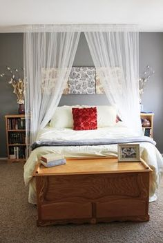 sheer curtains and bookshelves for nightstands as decor for room