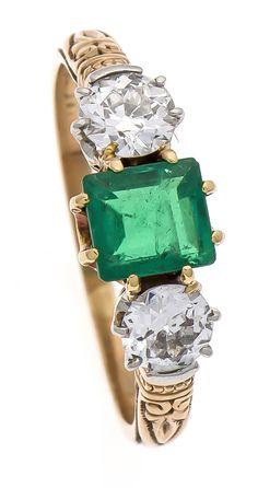 Smaragd-Altschliff-Brillant-Ring - Auktion - Bolland & Marotz Hanseatisches Auktionshaus