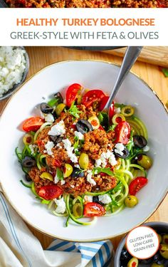 Healthy and delicious ground turkey Bolognese with zucchini noodles (low-carb, gluten-free and grain-free recipe). This delicious meat sauce is loaded with hidden veggies and herbs, served with olives and feta on top. #lowcarb #glutenfree #grainfree #turkey #groundturkey #greek #bolognese #dinner #healthy Zucchini Noodles, Ground Turkey, Feta, Hidden Veggies, Meat Sauce, Make Ahead Meals, Greek Salad, Cherry Tomatoes