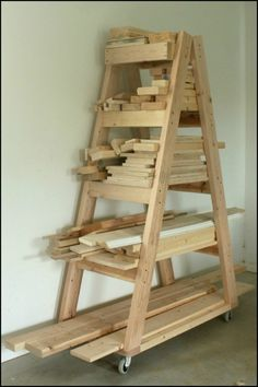 Organize your lumber pile by building this easy portable lumber rack!                                                                                                                                                                                 More