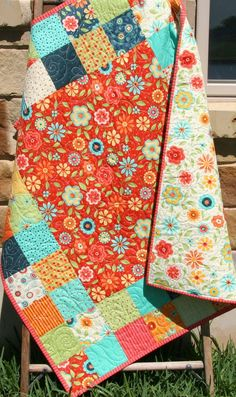 Baby Girl Quilt, Patchwork Pink Blue Red Primary Colors, Crib Blanket, Nursery Decor, Bedding, Handmade Shower Gift, Flowers Block Party Baby Girl Quilt Patchwork Pink Blue Red by SunnysideDesigns2