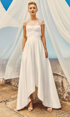 elbeth gillis milk honey 2017 bridal separates cap sleeve aline high low wedding dress (michelle lace top chloe top harper skirt) mv