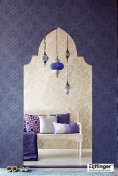 Elements of Moroccan Style lots of patterns - Arabesques & large floral layered pillows sumptuous textures clustered pendants with surface decoration strong purple color Moorish arched doorway. Morrocan Decor, Moroccan Bedroom, Moroccan Interiors, Moroccan Lanterns, Moroccan Design, Moroccan Style, Style At Home, My New Room, Home Fashion