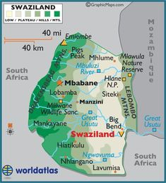 Swaziland, officially the Kingdom of Swaziland and sometimes called Ngwane or… Africa Map, Africa Travel, West Africa, North Africa, African Countries, Countries Of The World, Africa Destinations, Travel Destinations, Thinking Day