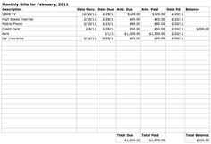 monthly bills spreadsheet template of zen and computing - Monthly Bill Spreadsheet Template Free
