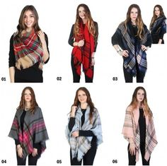 "4 Season Plaid Blanket Scarf Wrap Shawl 56"" X 56""  6 Colors Available  NEW NWT  #NorthSouthFashions #BlanketScarf"
