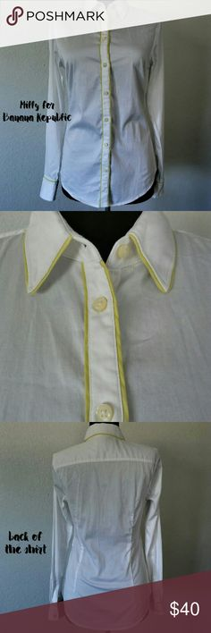 Milly Collection for Banana Republic Button Down Crisp White Button Down with Citron trim piping. Size 0 or xs Milly Collection for Banana Republic. In excellent pre owned condition. Banana Republic Tops Button Down Shirts