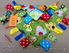 Tag Blanket Crinkle Toy, Baby Taggie, Sensory Toy with Crinkle Sound, Dino, Dinosaurs, green red blue, orange, monkey, cute, boy PADDED