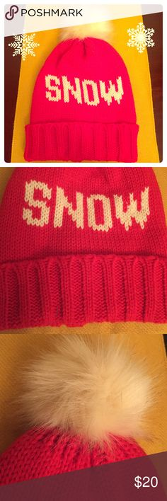 🆕 ☃Snow Pom Pom Beanie☃ Very Festive! Snow Pom Pom Beanie. Women. Tweens. Teens. OSFM. Bright Red with White Lettering. Solid Back. Deep Cuff. Faux Fur Pom Pom. 100% Acrylic. Brand New. Excellent Condition. No Trades. Sierra Accessories Accessories Hats