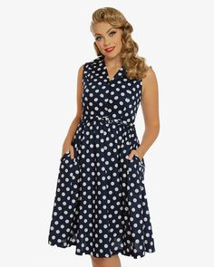 'Matilda' Navy Polka Dot Shirt Dress | Vintage Inspired Fashion | Lindy Bop