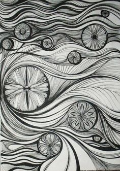 Really interesting black and white zentangle patterns used to create an image that reminds me of Van Gogh's The Scream. Doodles Zentangles, Zentangle Drawings, Zentangle Patterns, Doodle Drawings, Doodle Art, The Elegant Universe, Tangle Art, Tangle Doodle, Principles Of Design