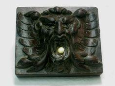 Very-interesting-antique-wooden-devil-lion-demon-face-door-push-bell