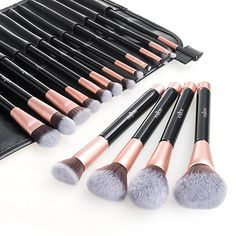 Anjou Makeup Brushes Kit of 16pcs, Soft and Cruelty Free, Synthetic Hair, Pink Gold Design, Elegant Pouch PU Leather Included