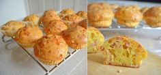 SNACK MUFFINS WITH HAM AND CHEESE  -  Quick, easy, delicious!  Ingredients (12-14 cupcakes):   100 g of ham (or sausage) 100 g of hard cheese 200 ml of sour cream (I have 20%) 50 ml olive oil (can substitute vegetable or butter) 3 eggs 200 - 250 g flour 2 tsp baking powder (or 1 teaspoon soda) Salt, pepper, herbs to - full text recipe, visit the website http://recipesworthsharing.com/2015/11/20/snack-muffins-with-ham-and-cheese/