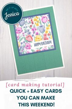 These beautiful handmade floral cards are easy to make in a weekend with this quick card making tutorial! #handmadecards #papercrafts #tutorial Handmade Cards For Friends, Diy Birthday Gifts For Friends, Birthday Cards For Women, Handmade Birthday Cards, Happy Birthday, Card Making Ideas For Beginners, Card Making Tips, Card Making Tutorials, Card Making Techniques