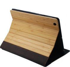 Houten iPad 2/3/4 cover die zowel de voor- als achterkant van uw iPad 2/3/4 Air of Mini beschermt! Gemaakt van bamboe en afgezet met een mooie zwarte rand gemaakt van leer.