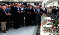 Turkish president mourns victims of Tuesday's attack…: Turkish President Recep Tayyip Erdogan (C) walks at Istanbul's Ataturk airport, on…