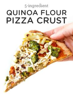 You'll LOVE this Quinoa Flour Pizza Crust that is made with just easy 5 ingredients! This healthy homemade recipe is gluten-free, vegan, oil-free and holds up to all your toppings! Quick, no yeast, and oh so yummy. Pizza Recipes, Vegetarian Recipes, Dinner Recipes, Healthy Recipes, Recipe Of Pizza, Simple Recipes, Baby Recipes, Rice Recipes, Quinoa Flour Pizza Crust Recipe