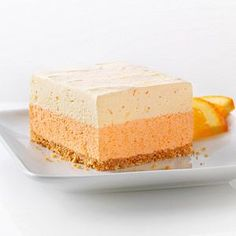 Orange Dream Layered Squares Recipe - Kraft Recipes Use unsweetened orange juice and sugar free gelatin/puddings Kraft Recipes, Desserts Rafraîchissants, Dessert Recipes, Recipes Dinner, Dessert Healthy, Strawberry Desserts, Yummy Treats, Sweet Treats, Yummy Food
