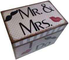 Wedding Guest Book  Box Alternative Mustache, Moustache and Lips, Mr. and Mrs.  Large Handcrafted Box Holds 4x6 MADE To ORDER via Etsy