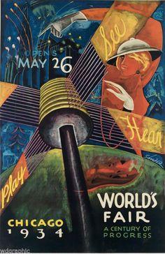 Art Poster: #FreeShipping Chicago World'S Fair. 1934 Vintage Canvas Print 20X31