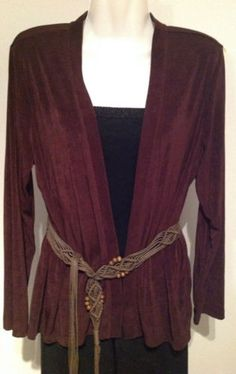 New Citiknits Slinky Open Travel Knit Jacket & Bohemian Fringe Belt  SZ Small  $11.99
