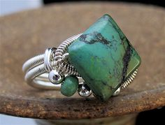 8.25 ring Wire Wrapped turquoise Handmade USA
