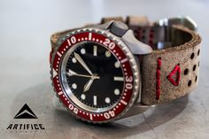 """Seiko SKX007 Stage IV blast SII NH36 hacking/handwinding upgrade Dagaz red 60 min Superdome sapphire conversion Yobokies Baby Tuna bezel conversion Dagaz Stiletto handset Submariner dateless dial AHW brushed chapter ring SARB059 """"S"""" signed crown Sterilized & laser etched """"One Hundred Ten Fathoms"""" Sharky caseback Custom leather strap"""