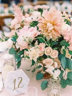 Perfect Blush and Blue Pastel Wedding at Catalina View Gardens Romantic Wedding Receptions, Wedding Reception Centerpieces, Boho Wedding Decorations, Wedding Themes, Wedding Bouquets, Wedding Flowers, Low Centerpieces, Centerpiece Ideas, Wedding Ideas