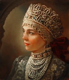 """""""A Woman in a Russian Costume"""" by Andrey Shishkin, a contemporary Russian artist. #art #painting #Russian #costume"""