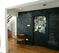 chalkboard walls!   perfect =]