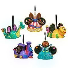 Disney Main Street Electrical Parade Light-Up Ear Hat Ornament Set - Celebrate our spectacular festival pageant of nighttime magic and imagination, the Main Street Electrical Parade, with this set of five light-up ear hat ornaments inspired by your favorite sparkling floats.