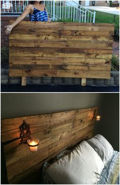 #Bedroom, #Headboard, #PalletHeadboard, #RecyclingWoodPallets Update your boring bedroom and add a personal touch with this lovely Queen-Sized Pallet Headboard and don't spend a single penny! Queen-Sized Pallet Headboard: To begin, we cut a piece of plywood as the backing and used two pallet stringers as
