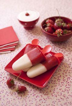 Bâtonnets glacés fraises fromage blanc