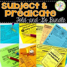Simple Subject & Simple Predicate Complete Subject & Predi Writing Resources, Teaching Resources, Simple Subject, Subject And Predicate, Unit Plan, Interactive Notebooks, Task Cards