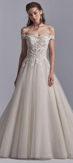 Off the shoulder ballgown wedding dress by Sottero and Midgley #midgleybride #sotteroandmidgley #maggiesotterodesigns #weddingdress