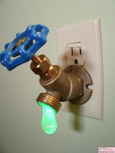 Green LED faucet night light!