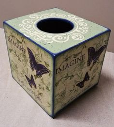 Butterfly tissue box by Thoulie on Etsy Tissue Boxes, Tissue Holders, Rice Paper, Facial Tissue, Decoupage, Stencils, Butterfly, Romantic, Etsy