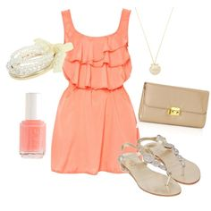 outfit: peach ruffle-topped thick-strapped minidress, pearl bangles, pearl pendant necklace, peach nailpolish, nude clutch, nude / crystal sandals