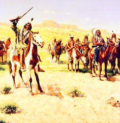 Indian warriors preparing for battle at Little Big Horn