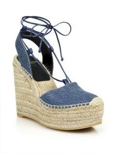 Denim Espadrille Wedge Sandals