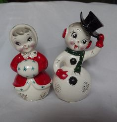 Norcrest Snowman and Girl Mrs Claus Salt & Pepper Japan