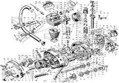 exploded view of a single cylinder ducati engine Technical Illustration, Technical Drawing, Exploded View, Used Engines, Automotive Engineering, Ducati Motorcycles, Architecture Graphics, Prop Design, Motorcycle Engine