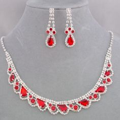 Fashion Jewelry Necklace Set Red and Crystal Rhinestone Silver NEW #ChristiaCollection