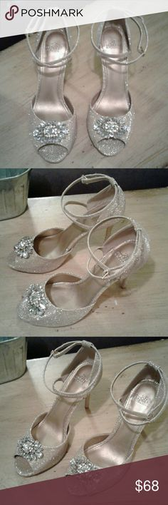Belle Badgley Miscka Golden Open Toe Strap 4 inch Pumps Badgley Mischka Shoes Heels