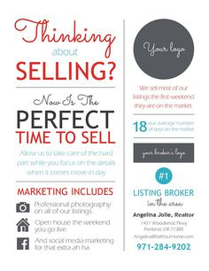 Real Estate Marketing Ideas Discover Customized Sales Infographic Postcard thinking about selling Real Estate Career, Real Estate Tips, Selling Real Estate, Real Estate Sales, Real Estate Investing, Real Estate Business Plan, Kansas City Real Estate, Stock Investing, Investing Money