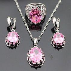 Vintage Pink Topaz Jewelry Set Women 925 Silver Necklace Pendant Earrings Ring