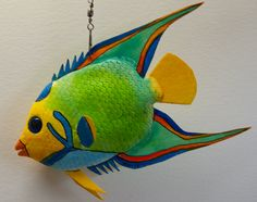 queen angelfish Homemade Polymer Clay, Polymer Clay Art, Mermaid Baby Showers, Baby Mermaid, Colorful Fish, Tropical Fish, Clay Fish, Wood Fish, Paper Mache Crafts