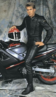 """"""" chromattix: """"This boy's hogging the entire world's coolness supply! So Gorgeous :o """" Motorcycle Suit, Motorcycle Leather, Biker Leather, Motorbike Leathers, Mens Leather Pants, Teenage Guys, Sexy Teens, Leather Fashion, Hot Guys"""